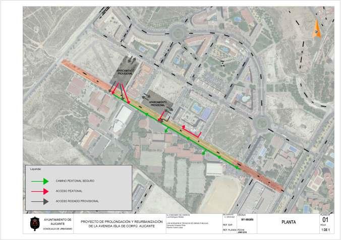 Plano de aparcamientos e itinerarios temporales en obra